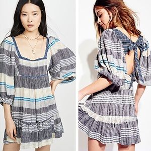 NWT Free People All Lined Up Striped Mini Dress